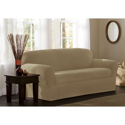 Box Cushion Sofa Slipcover Set Upholstery: Natural
