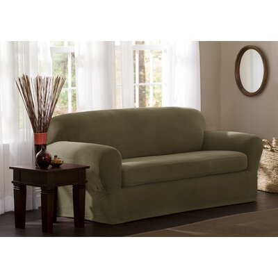 Box Cushion Loveseat Slipcover Upholstery: Dark Sage