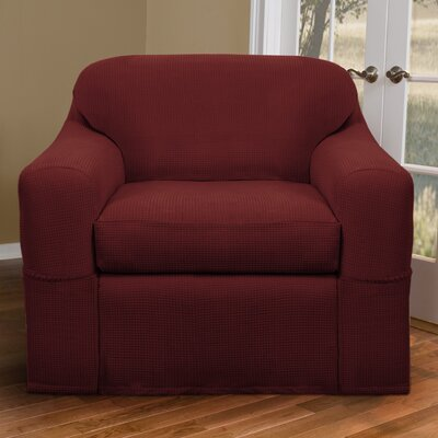 Box Cushion Armchair Slipcover Set Upholstery: Red