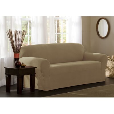 Box Cushion Sofa Slipcover Upholstery: Natural