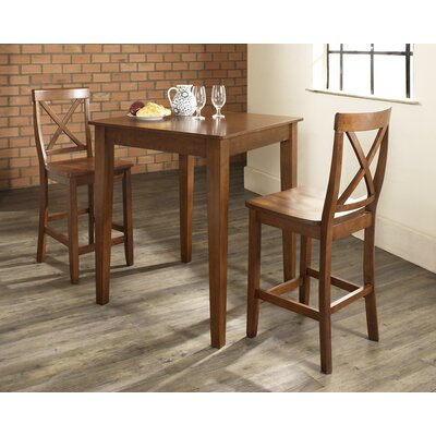 Baggley 3 Piece Pub Table Set with Tapered Leg Table and X-Back Barstools Finish: Classic Cherry