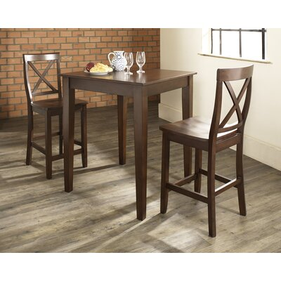 Pershore 3 Piece Pub Table Set with Tapered Leg Table and X-Back Barstools Color: Vintage Mahogany