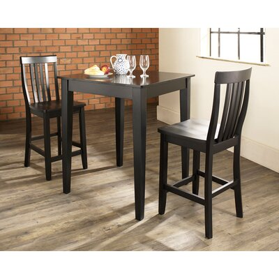 Pittman 3 Piece Pub Table Set with Tapered Leg Table and Barstools Color: Black