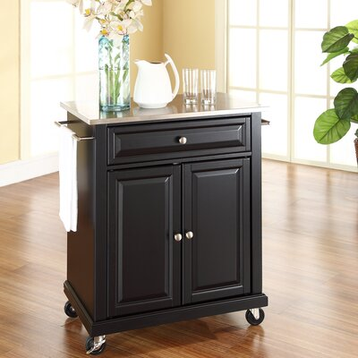 Bainbridge Kitchen Cart with Stainless Steel Top Base Finish: Black