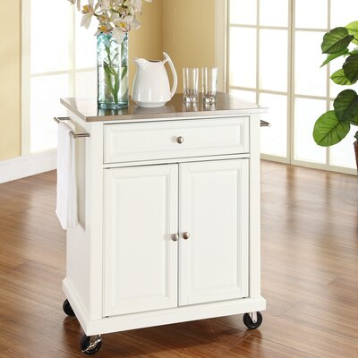 Thorpe Kitchen Cart with Stainless Steel Top Base Finish: White