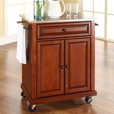 Thorpe Kitchen Cart with Stainless Steel Top Base Finish: Classic Cherry