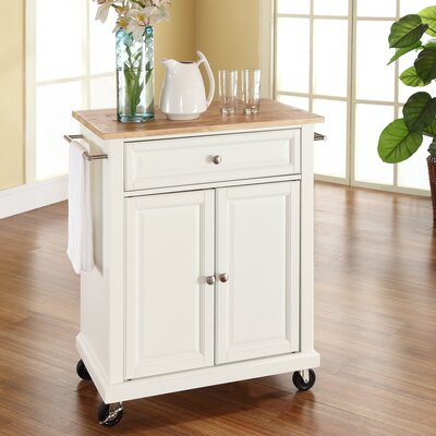 Bexton Kitchen Cart with Wood Top Base Finish: White