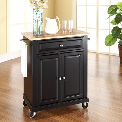 Bexton Kitchen Cart with Wood Top Base Finish: Black
