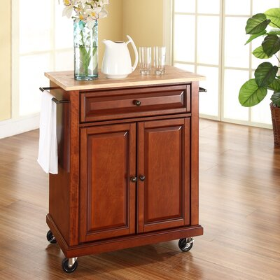 Bexton Kitchen Cart with Natural Wood Top Base Finish: Classic Cherry