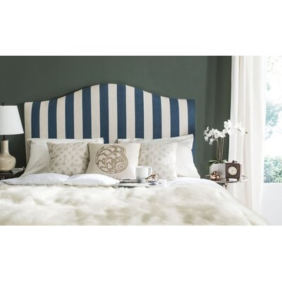 Rumford Upholstered Panel Headboard Striped Size: Queen, Upholstery: Navy & White