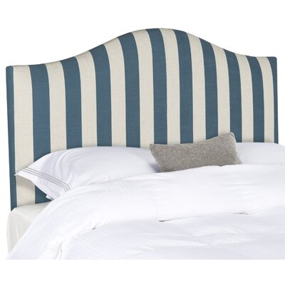 Rumford Upholstered Panel Headboard Size: Full, Upholstery: Navy & White