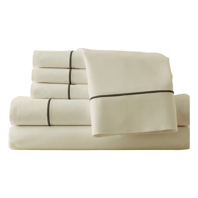 Cunnyngham 1000 Thread Count Sheet Set Size: Queen, Color: Ivory/Mocha