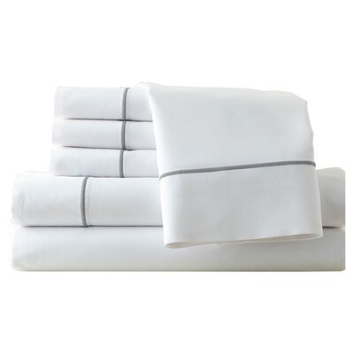 Cunnyngham 1000 Thread Count Sheet Set Size: Queen, Color: White/Celestial Blue