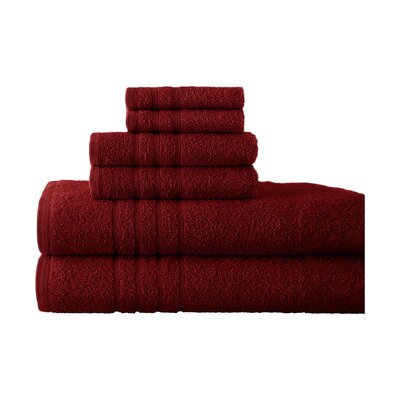Strafford 6 Piece Towel Set Color: Ruby