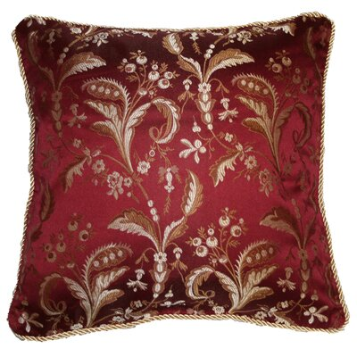Rockport Damask Decorative Throw Pillow Color: Burgundy