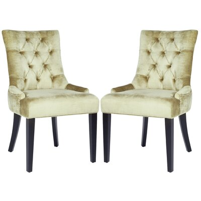 Reynesford Velvet Side Chair Set of 2 Upholstery Bronze Velvet