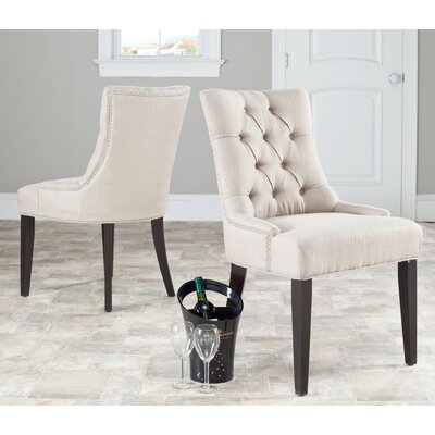 Reynesford Velvet Side Chair (Set of 2) Upholstery: Beige Fabric