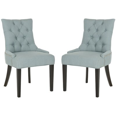 Reynesford Velvet Side Chair Set of 2 Upholstery Sky Blue