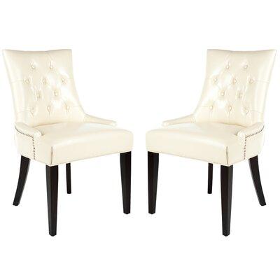 Reynesford Velvet Side Chair (Set of 2) Upholstery: Cream Leather