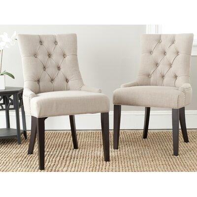 Reynesford Velvet Side Chair (Set of 2) Upholstery: True Taupe