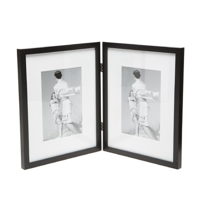 Saunterton Contemporary Hinged Double Picture Frame Color: Black Matted