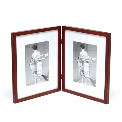Saunterton Contemporary Hinged Double Picture Frame Color: Walnut Brown Matted