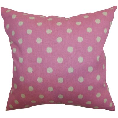 Bienville Ikat Dots Cotton Throw Pillow Color: Pink, Size: 18 H x18 W