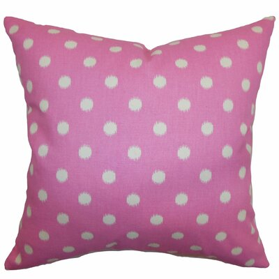 Bienville Ikat Dots Cotton Throw Pillow Color: Gum Drop Pink Natural, Size: 18 H x18 W