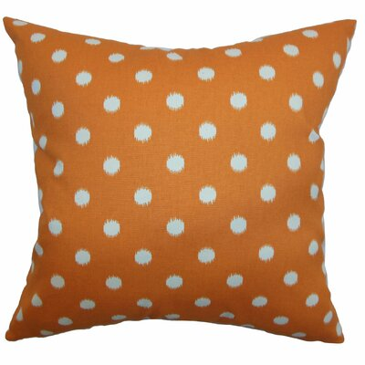 Bienville Ikat Dots Cotton Throw Pillow Color: Gum Drop Orange Natural, Size: 18 H x18 W