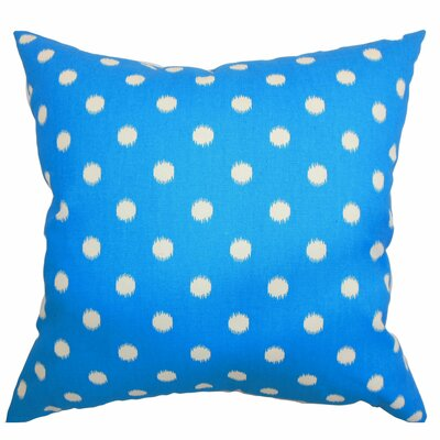 Bienville Ikat Dots Cotton Throw Pillow Color: Grasshopper Blue Natural, Size: 18 H x18 W