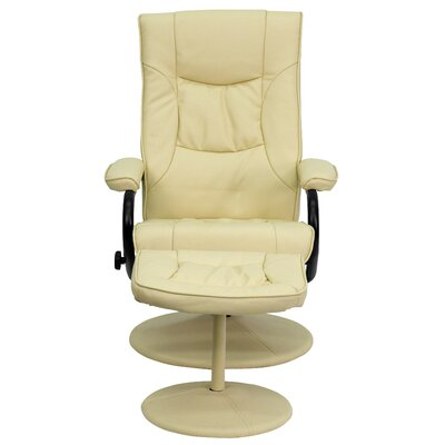 Manual Swivel Recliner with Ottoman Upholstery: Cream