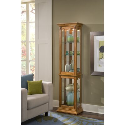 Maywood Lighted Curio Cabinet Color: Oak