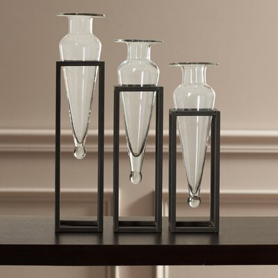 Cockayne 3 Piece Amphora Vase Set Color: Clear
