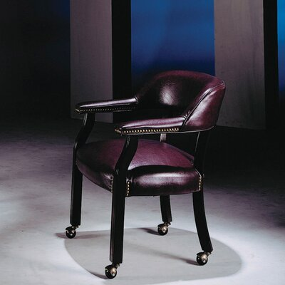 Evelyn Roberts Guest Barrel Arm Chair Upholstery: Burgundy, Casters: No