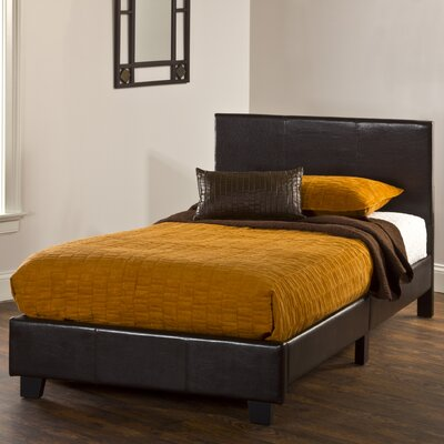 Leman Upholstered Panel Headboard Size: Twin, Color: Brown Vinyl