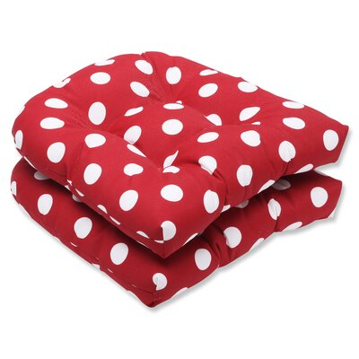 Tadley Outdoor Dining Chair Cushion Color: Red / White Polka Dot
