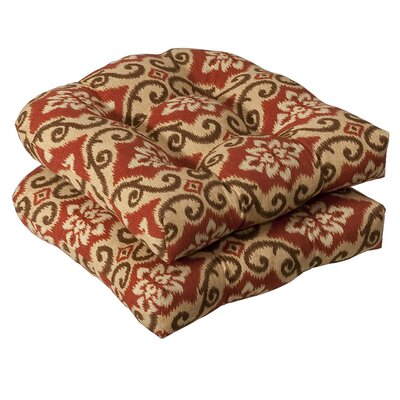 Tadley Outdoor Dining Chair Cushion Color: Red / Tan Damask