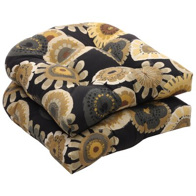 Tadley Outdoor Dining Chair Cushion Color: Black / Yellow Floral