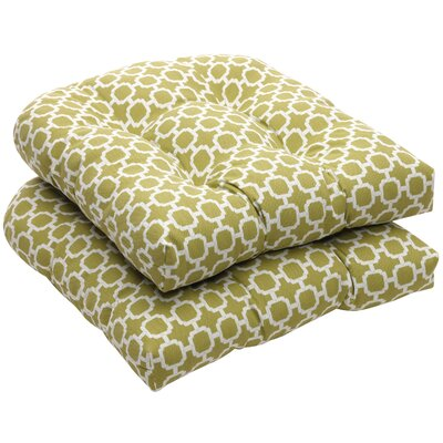 Tadley Outdoor Dining Chair Cushion Color: Green / White Geometric