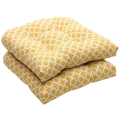 Tadley Outdoor Dining Chair Cushion Color: Yellow / White Geometric