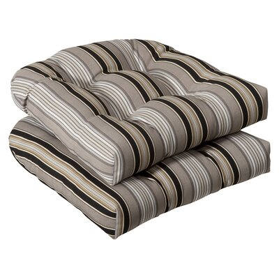 Tadley Outdoor Dining Chair Cushion Color: Black / Beige Striped
