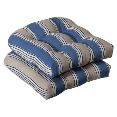 Tadley Outdoor Dining Chair Cushion Color: Blue / Tan Striped
