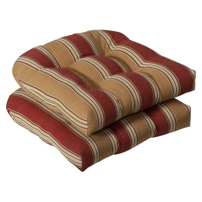 Tadley Outdoor Dining Chair Cushion Color: Red / Gold Striped