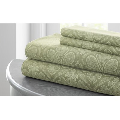 Fitzlewis 300 Thread Count Microfiber Sheet Set Color: Elm Green, Size: Twin