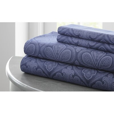 Fitzlewis 300 Thread Count Microfiber Sheet Set Size: King, Color: Indigo