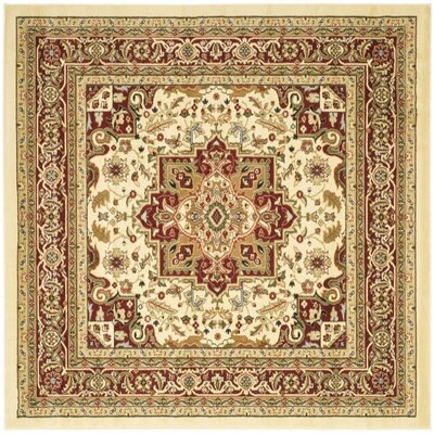 Theresa Ivory/Red Area Rug Rug Size: Square 6