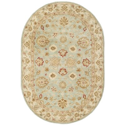 Otwell Blue/Beige Area Rug Rug Size: Oval 46 x 66