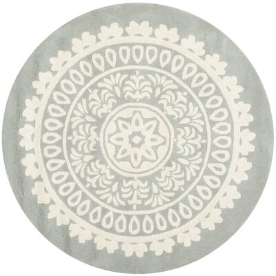 Goldwell Gray / Ivory Area Rug Rug Size: Round 5