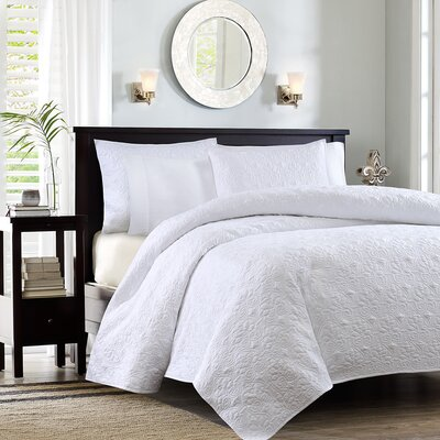 Seys Cotton Coverlet Set Color: White, Size: California King