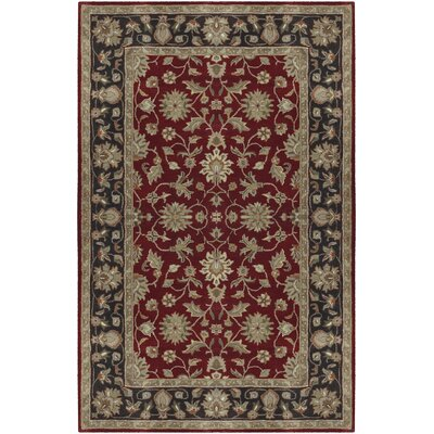 Markeley Hand-Tufted Burgundy Area Rug Rug Size: 4 x 6